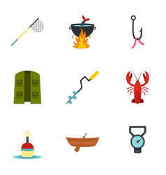 Fisher icons set flat style vector