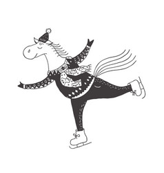 Funny horse on the skates nursery art minimalist vector