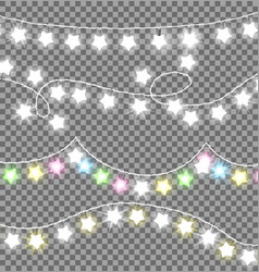garland ropes with bulbs on transparent background vector image vector image