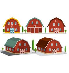 houses on farm farming concept buildings set vector image