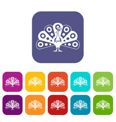 Peacock with flowing tail icons set vector