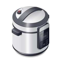 Pressure cooker detailed isometric icon vector