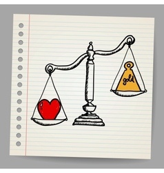Scales with heart and money vector image