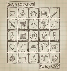 Shared location icon doodle set vector