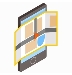 Smartphone with map on the screen on icon vector image