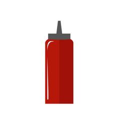 Tomato sauce bottle simple flat vector