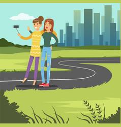 Two happy girlfriends hugging and taking selfie vector