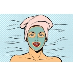 Woman with cosmetic mask on face vector image