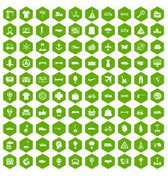 100 logistics icons hexagon green vector image vector image