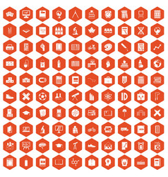 100 school icons hexagon orange vector image