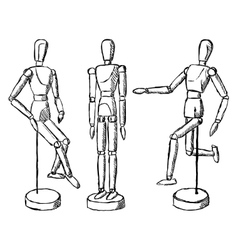 Wooden mannequin art figurine vector