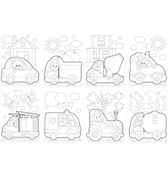 Coloring pages with cars vector