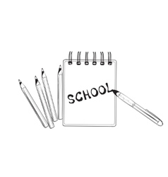 School doodles icons hand drawn notebook vector