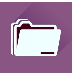 Flat icon with long shadow documents folder vector