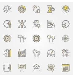 Productivity colorful icons vector image