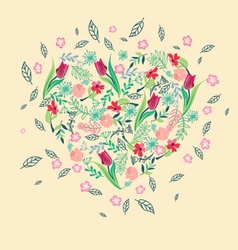 Background with herbs tulips and wild flowers vector