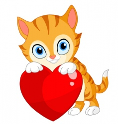 Kitten with heart valentine's vector