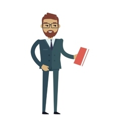 European man in expensive suit and book vector