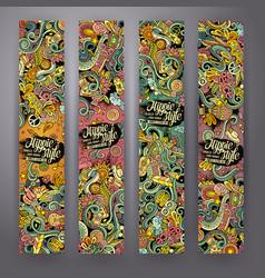 cartoon doodles hippie banners vector image