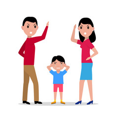 Cartoon angry parents swearing child vector