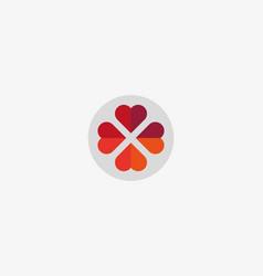Four hearts social symbol heart cross vector