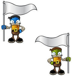 Halloween Monster Holding Flag vector image