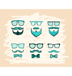 Beards mustaches glasses and bows print vector