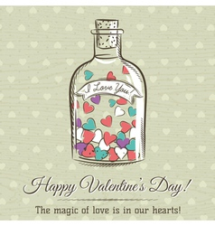 Valentine card with jar filled with hearts vector