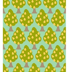 Pear tree seamless pattern orchard background vector