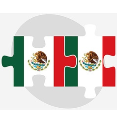 Mexico and mexico flags in puzzle vector
