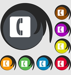 Handset icon sign symbol on eight colored buttons vector