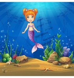 Undersea world with haired mermaid vector