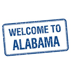 Welcome to alabama blue grunge square stamp vector