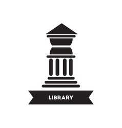 Flat icon in black and white style library vector