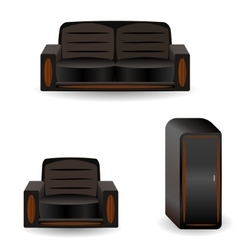 A set of furniture sofa wardrobearmchair vector