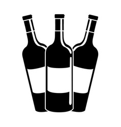 Black contour tasty wine bottles beverage icon vector