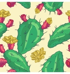 Cactus flower seamless pattern vector