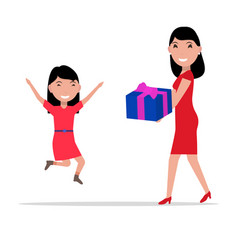 cartoon mother giving daughter a present vector image