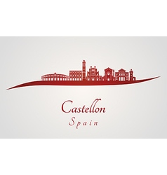Castellon skyline in red vector image