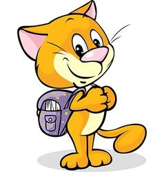 Cat with school bag standing isolated on white vector