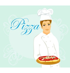 Chef with pizza vector
