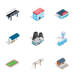City buildings icons isometric 3d style vector