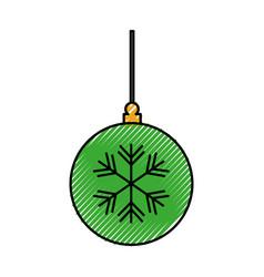 Decorative christmas ball ornament celebration vector