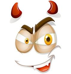 Devil face on white vector image