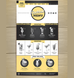 Flat cocktail menu concept web site design vector