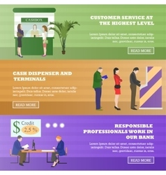 Horizontal banners with bank related vector image vector image