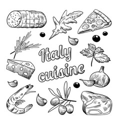 Italian food hand drawn doodle pizza cheese vector