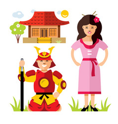 Japan samurai flat style colorful cartoon vector