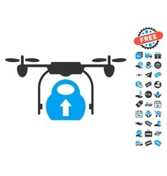 Load cargo drone icon with free bonus vector