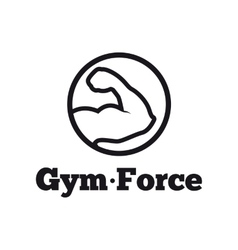 Modern round minimalistic gym logo fitness vector